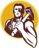 铁匠用锤子复古风格 — 图库照片