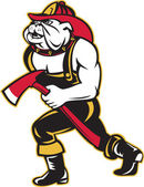 Bulldog dog fireman with axe walking cartoon — Stock Photo