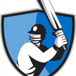 Cricket player batsman with bat shield — Stock Photo
