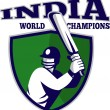 Cricket player batsman shield India world champions — Stok fotoğraf