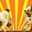 Cricket player batsman batting retro - Stock Photo