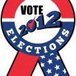 American election USA ribbon tick 2012 — Stock Photo