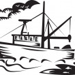 Commercial fishing boat ship sea woodcut — Stock Photo