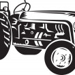 Vintage tractor retro woodcut — Stock Photo
