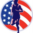 American marathon runner running retro — Stock Photo