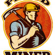 Coal miner pick axe retro — Stock Photo