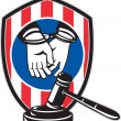 Gavel handcuff hand American stripes shield - Stock Photo