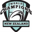 Rugby ball New Zealand World Champions — Stock Photo