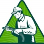 Tradesman home insulation technician with hose — Stock Photo