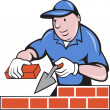 Bricklayer mason at work - Stock Photo