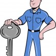 Stock Photo: Locksmith standing front view with key