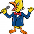 Yellow Bird singing microphone karaoke - Stock Photo
