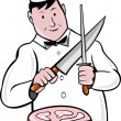 Cartoon butcher knife sharpening meat — Stock Photo