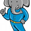 Stock Photo: Cartoon elephant busboy or bellboy posing