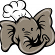 Royalty-Free Stock Photo: Cartoon chef cook baker elephant