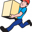 Delivery person worker running delivering box — Stock Photo