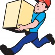 Delivery person worker running delivering box - Stock Photo