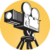 Vintage movie film camera retro style — Stock Photo