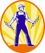 Electrician Repairman Holding Lightning Bolt — Stock Photo