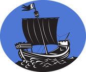 Galleon tall ship sailing sea — Stock Photo