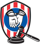 Gavel handcuff hand American stripes shield — Stock Photo