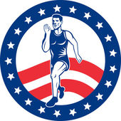 American Marathon runner stars stripes — Stock Photo