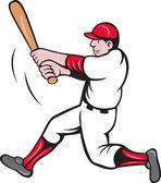 Baseball player batting cartoon style — Stock Photo