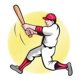 Beyzbol oyuncu vuruş karikatür tarzı — Stok fotoğraf