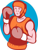 Amateur boxer in fighting stance — Stock Photo