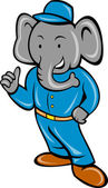 Cartoon elephant busboy or bellboy posing — Stock Photo