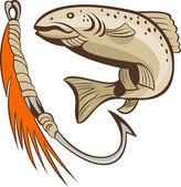 Fish and fishing hook lure bait — Stock Photo
