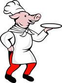 Cartoon pig chef cook baker serving platter — Stock Photo