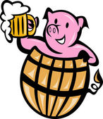 Pig pork in barrel with beer mug — Stock Photo