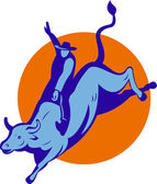 Rodeo cowboy bull riding — Stock Photo