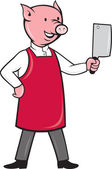 Pig butcher holding meat cleaver knife — Stock Photo