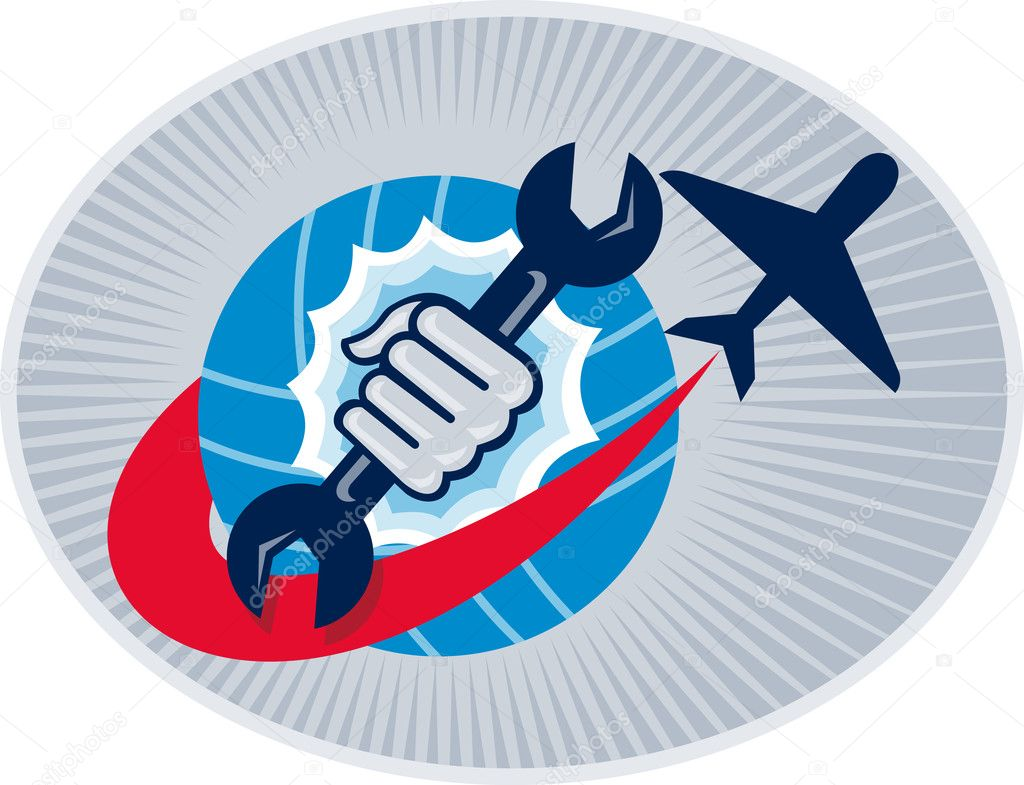 Illustration of a aviation mechanic hand holding a spanner with airplane flying over globe set inside oval — Stock Photo #7931147