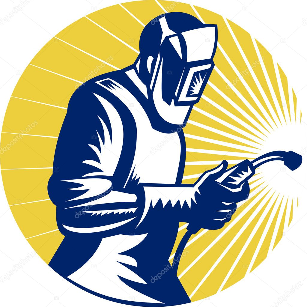 Retro style illustration of a welder at work with torch viewed from side set inside circle — Stock Photo #7932340