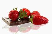 Strawberries and chocolate — Stock Photo