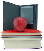 Apple, books and ebook reader — Foto de Stock