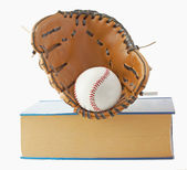 Baseball, glove and book — Stock Photo