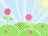 Gräs och blommor på grön äng — Stockvektor