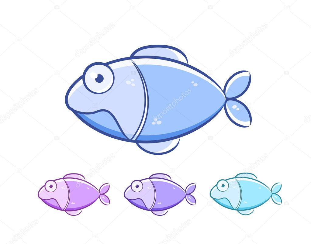 Cartoon fish set isolated on white background. Vector Illustration — Stock Vector #7349147