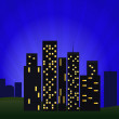 Night Cityscape With Skyscrapers — Stock Vector