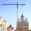 Building of orthodox temple in Kiev — Stock Photo