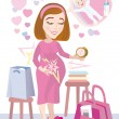 The pregnant going to the hospital - Stock Vector