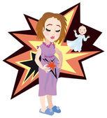 出産 - 妊娠中の女性は彼女の腹を保持. — ストックベクタ