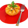 Stock Photo: Baked pumpkin with rice