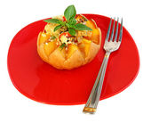 Baked pumpkin with rice — Stock Photo
