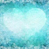 A forma di cuore da cuori e fiocchi di neve d'inverno — Foto Stock
