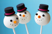 Snowman cake pops — Stock Photo